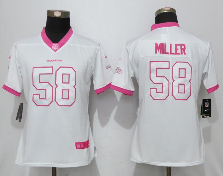 Nike Broncos 58 Von Miller White Pink Women Game Jersey