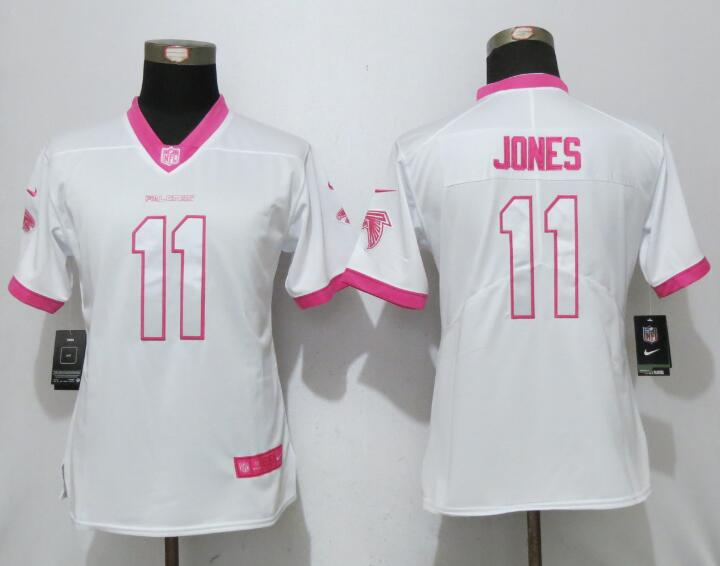 Nike Falcons 11 Julio Jones White Pink Women Game Jersey