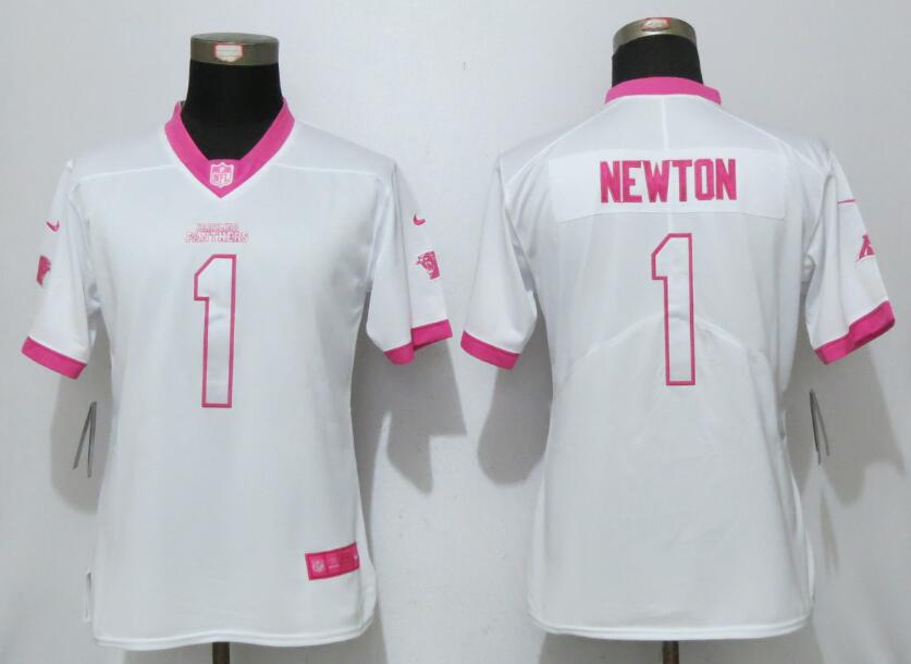 Nike Panthers 1 Cam Newton White Pink Women Game Jersey