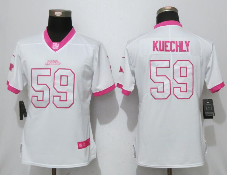 Nike Panthers 59 Luke Kuechly White Pink Women Game Jersey