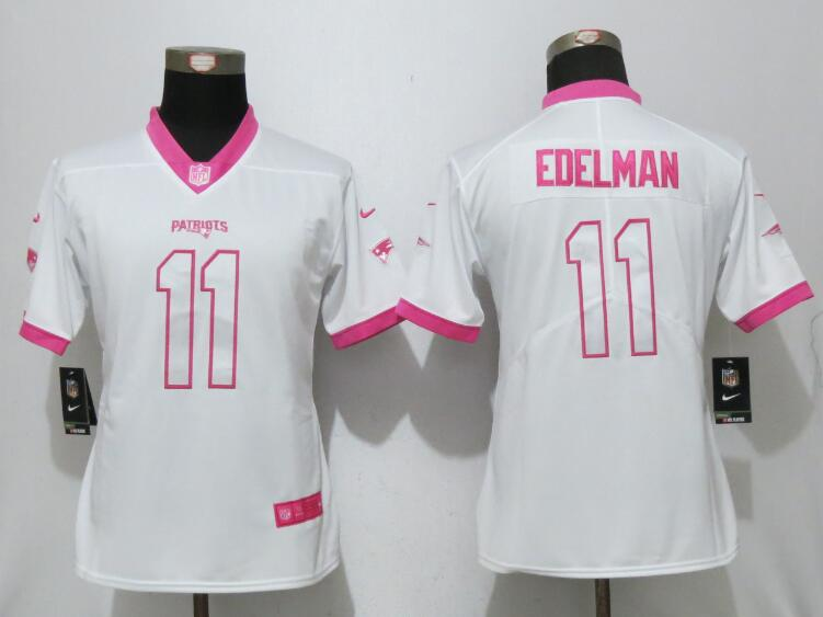 Nike Patriots 11 Julian Edelman White Pink Women Game Jersey