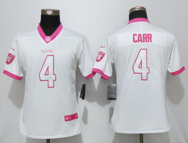 Nike Raiders 4 Derek Carr White Pink Women Game Jersey