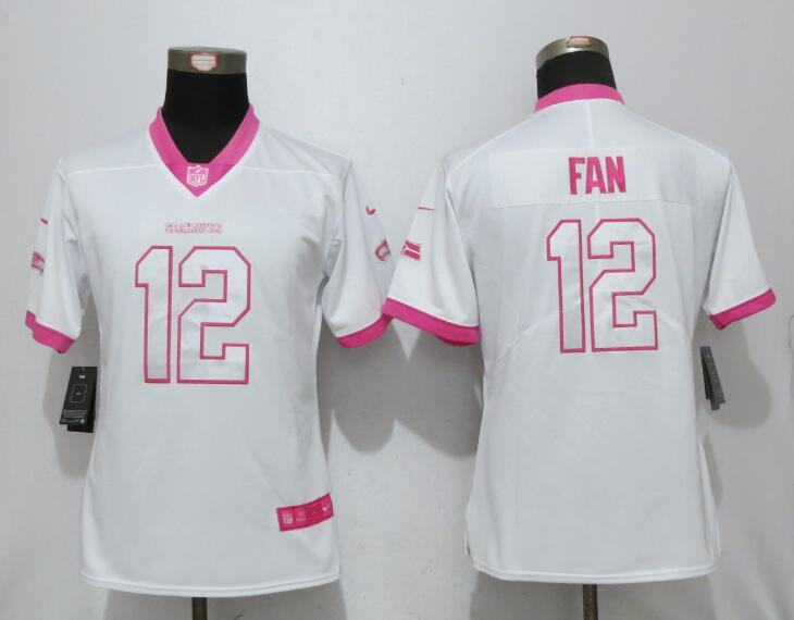 Nike Seahawks 12th Fan White Pink Women Game Jersey