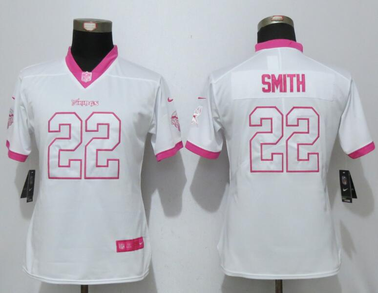 Nike Vikings 22 Harrison Smith White Pink Women Game Jersey