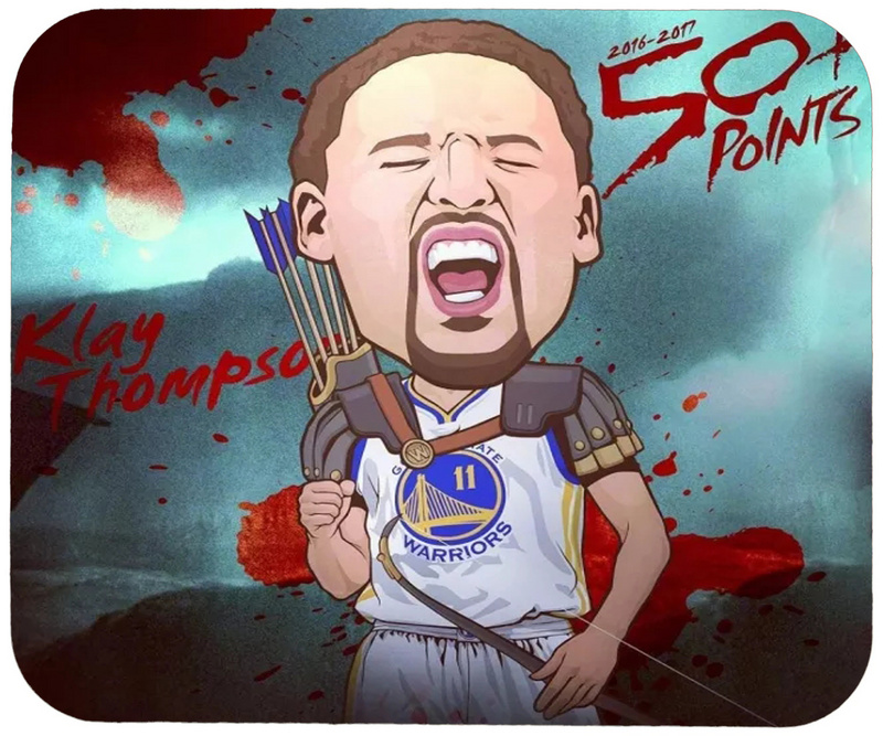 Warriors Klay Thompson Cartoon Logo Gaming/Office Mouse Pad