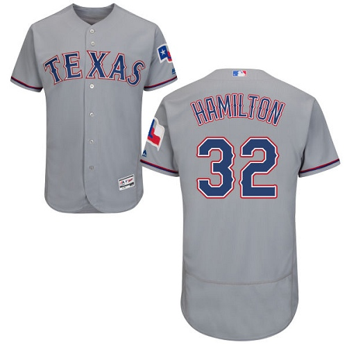 Rangers 32 Josh Hamilton Gray Flexbase Jersey