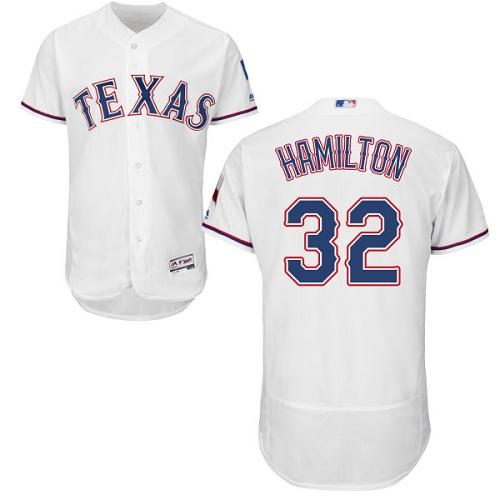 Rangers 32 Josh Hamilton White Flexbase Jersey