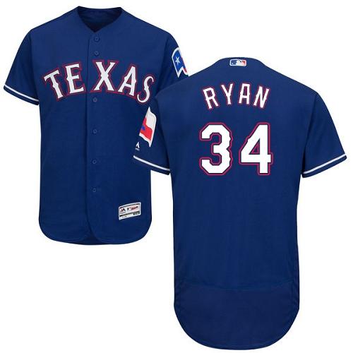 Rangers 34 Nolan Ryan Blue Flexbase Jersey