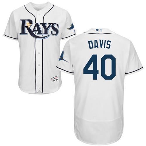 Rays 40 Wade Davis White Flexbase Jersey