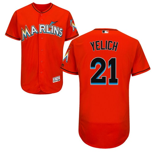 Marlins 21 Christian Yelich Orange Flexbase Jersey