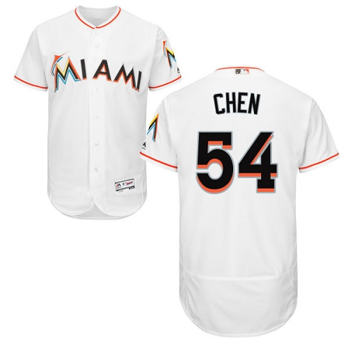 Marlins 54 Wei Yin Chen White Flexbase Jersey