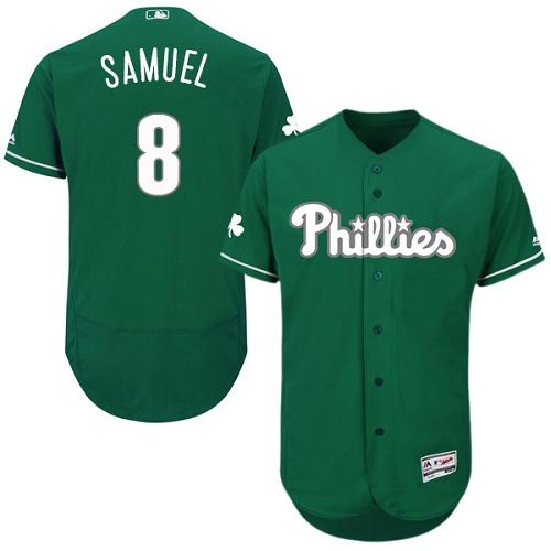 Phillies 8 Juan Samuel Green Celtic Flexbase Jersey