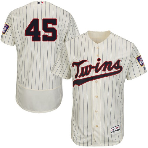 Twins 45 Phil Hughes Cream Flexbase Jersey