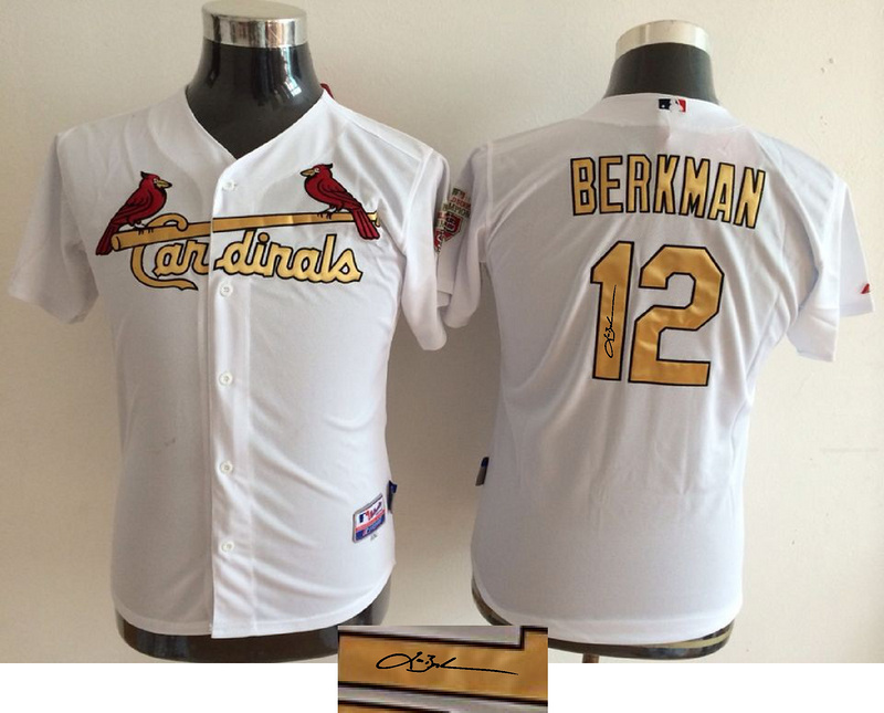 Cardinals 12 Lance Berkman White With Gold Number Youth Signature Edition Cool Base Jersey