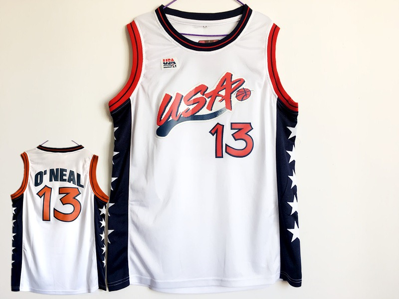USA 13 Shaquille O'Neal White Dream Team III Jersey