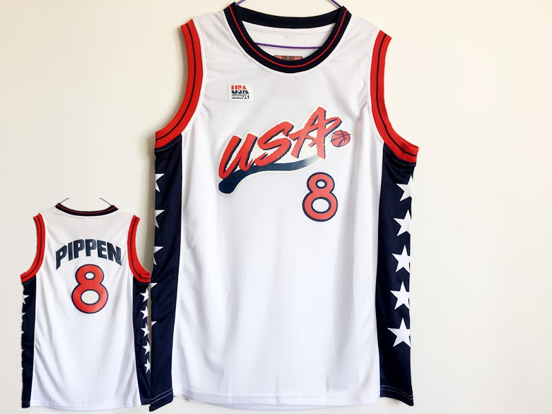 USA 8 Scottie Pippen White Dream Team III Jersey