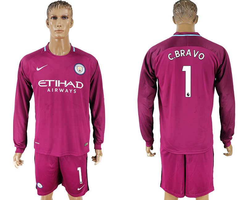 2017-18 Manchester City 1 C.BRAVO Away Long Sleeve Soccer Jersey