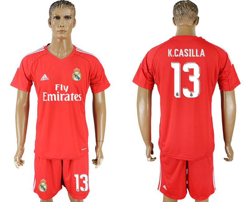 2017-18 Real Madrid 13 K.CASILLA Red Goalkeeper Soccer Jersey