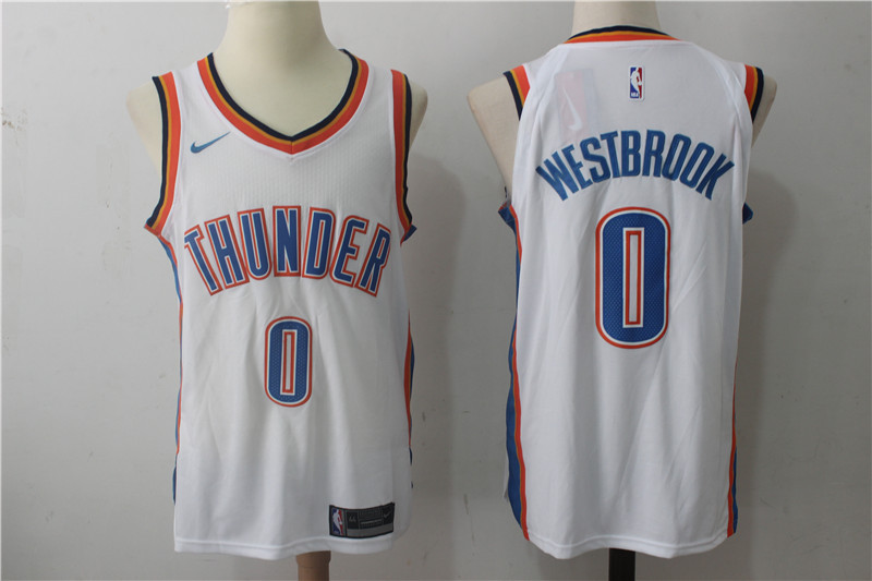 Thunder 0 Russell Westbrook White Nike Authentic Jersey