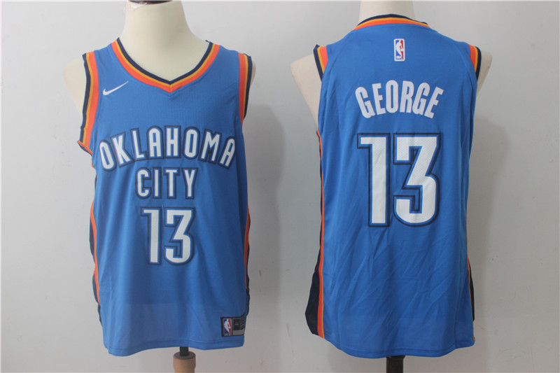 Thunder 13 Paul George Blue Nike Authentic Jersey