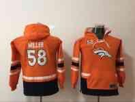 Denver Broncos 58 Von Miller Orange Youth All Stitched Hooded Sweatshirt