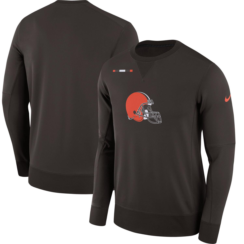 Men's Cleveland Browns Nike Brown Sideline Team Logo Performance Sweatshirt
