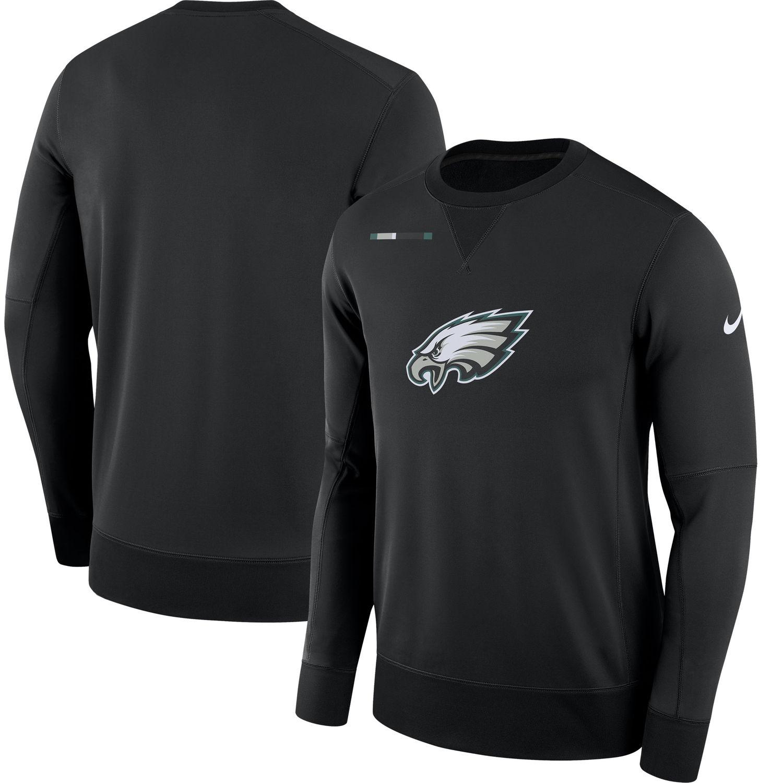 Men's Philadelphia Eagles Nike Black Sideline Team Logo Performance Sweatshirt