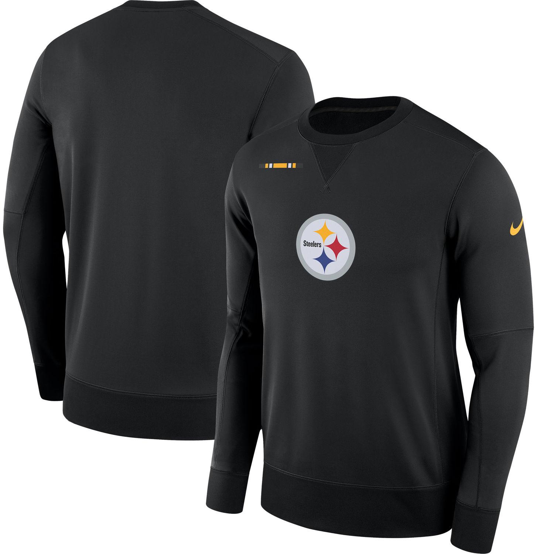 Men's Pittsburgh Steelers Nike Black Sideline Team Logo Performance Sweatshirt