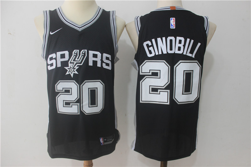 Spurs 20 Manu Ginobili Black Nike Authentic Jersey