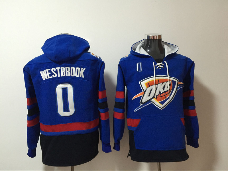 Thunder 0 Russell Westbrook Blue All Stitched Hooded Sweatshirt