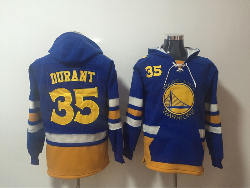 Warriors 35 Kevin Durant Blue All Stitched Hooded Sweatshirt