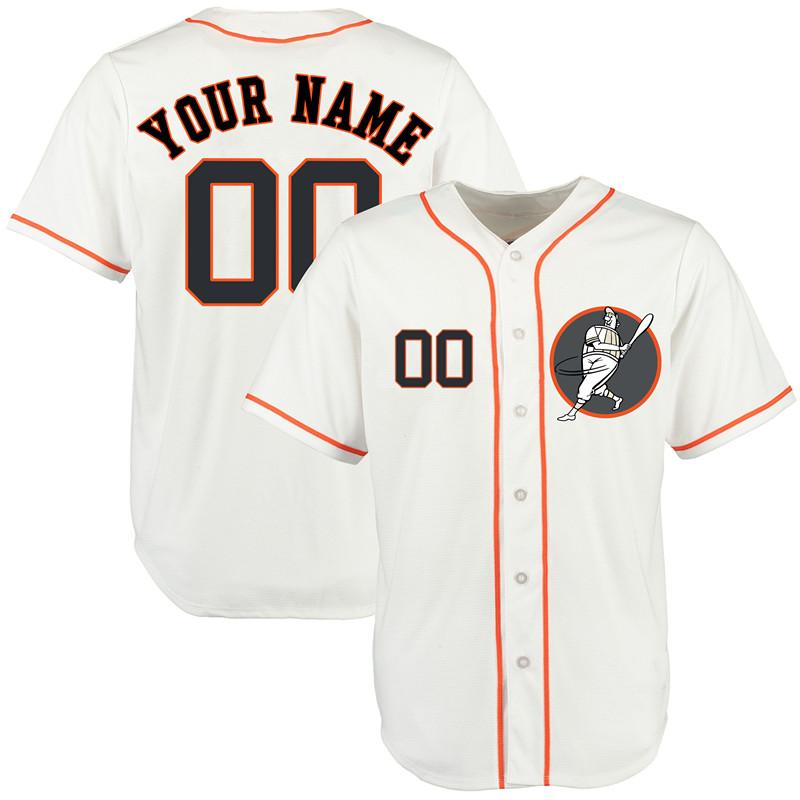 Astros White Men's Customized New Design Jersey