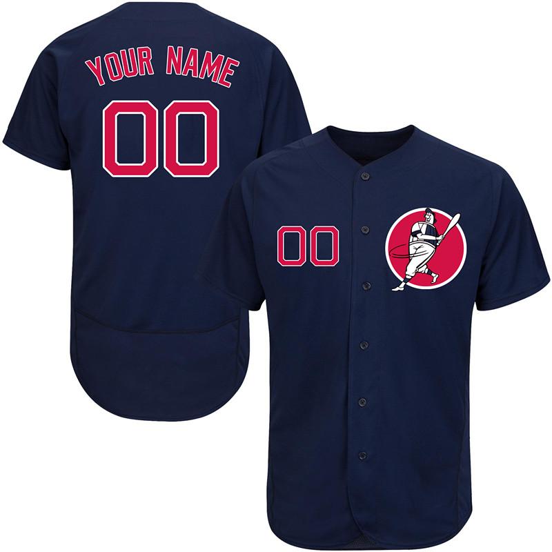Red Sox Navy Men's Customized Flexbase New Design Jersey
