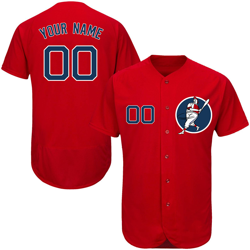 Red Sox Red Men's Customized Flexbase New Design Jersey
