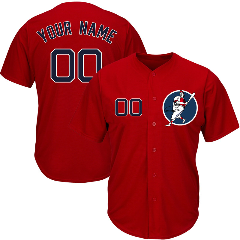 Red Sox Red Men's Customized New Design Jersey