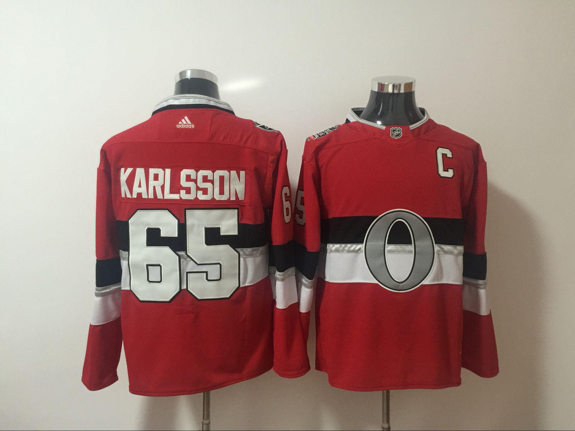 Senators 65 Erik Karlsson Red 2017 NHL 100 Classic Player Adidas Jersey