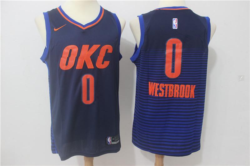 Thunder 0 Russell Westbrook Navy Nike Swingman Jersey