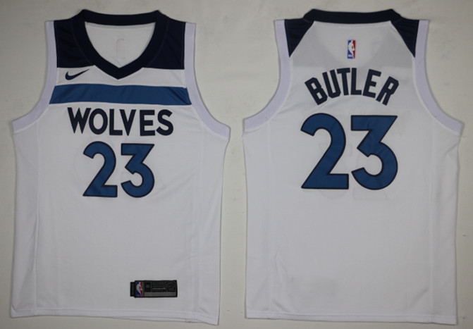 Timberwolves 23 Jimmy Butler White Nike Swingman Jersey(Without The Sponsor Logo)