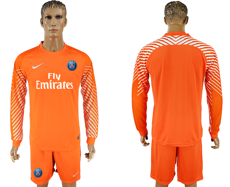 2017-18 Paris Saint-Germain Orange Goalkeeper Long Sleeve Soccer Jersey