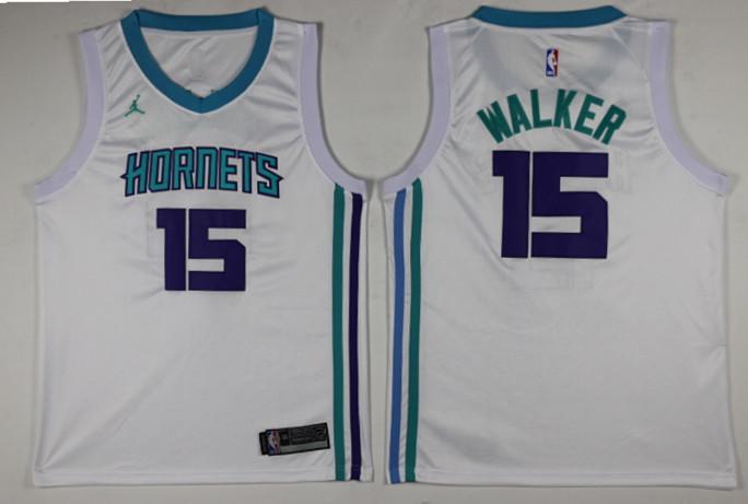 Hornets 15 Kemba Walker White Nike Swingman Jersey