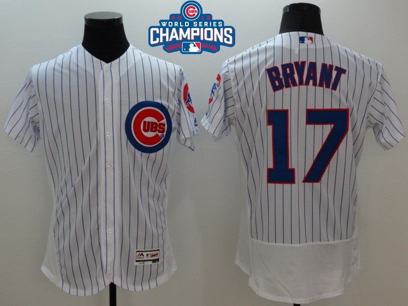 Cubs 17 Kris Bryant White 2016 World Series Champions Flexbase Jersey