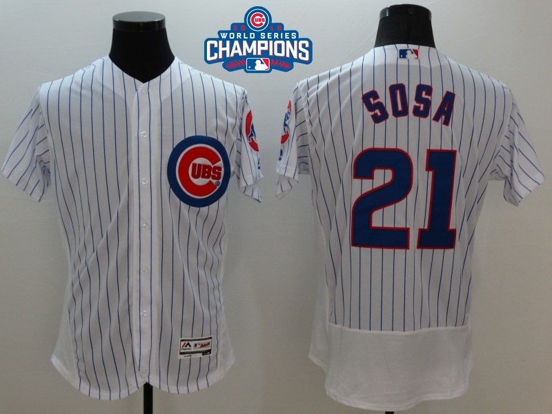 Cubs 21 Sammy Sosa White 2016 World Series Champions Flexbase Jersey