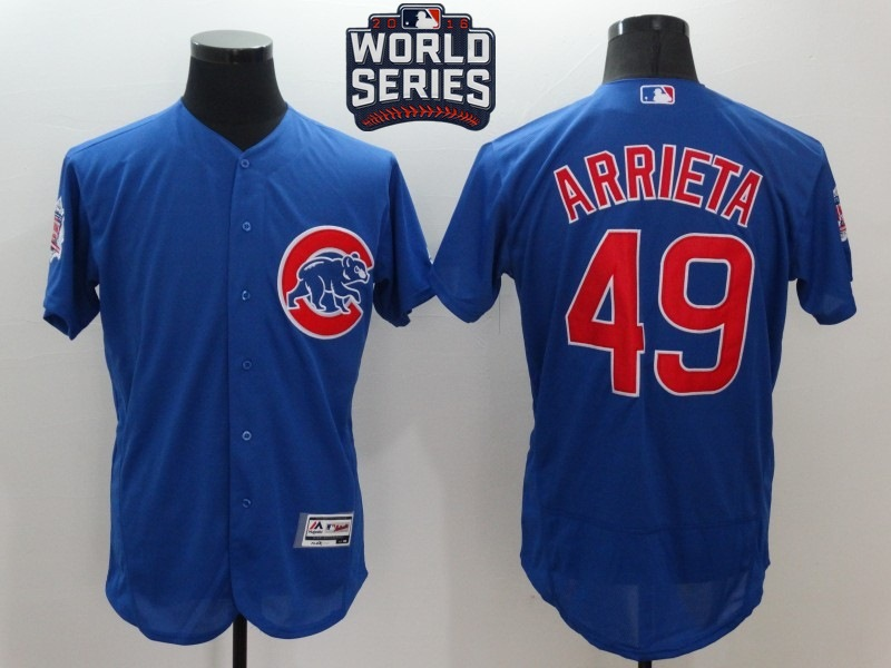 Cubs 49 Jake Arrieta Royal 2016 World Series Flexbase Jersey