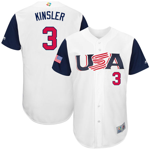Men's USA Baseball 3 Ian Kinsler White 2017 World Baseball Classic Jersey