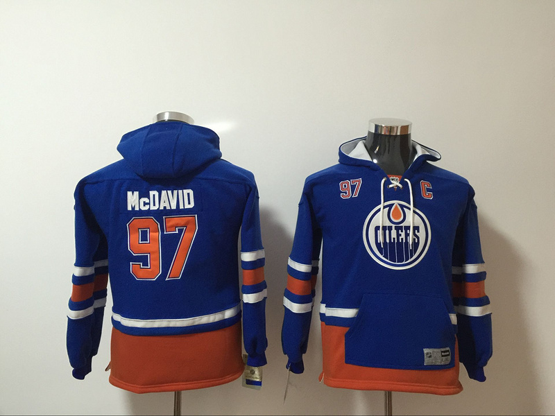 Edmonton Oilers 97 Connor McDavid Blue Youth All Stitched Hooded Sweatshirt