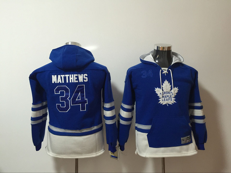 Toronto Maple Leafs 34 Auston Matthews Blue Youth All Stitched Hooded Sweatshirt