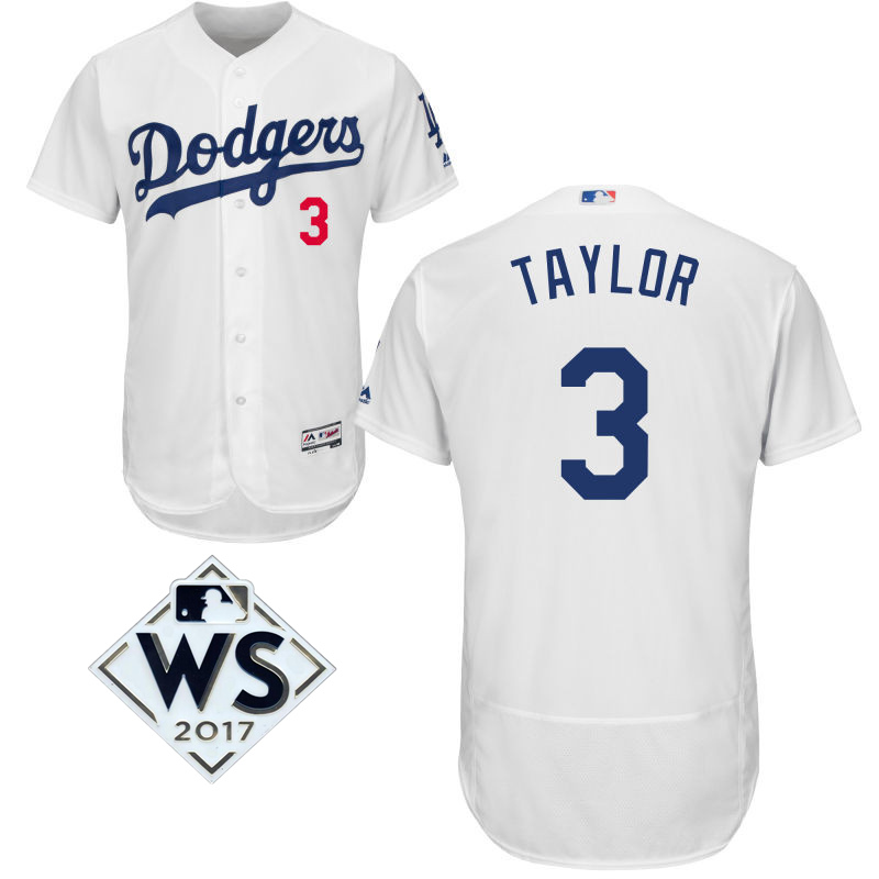 Dodgers 3 Chris Taylor White 2017 World Series Bound Flexbase Player Jersey