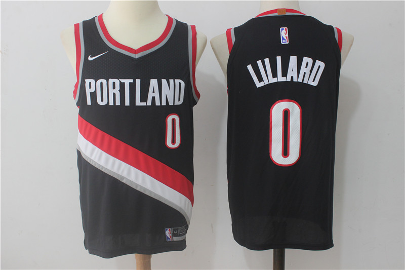 Blazers 0 Damian Lillard Black Nike Authentic Jersey