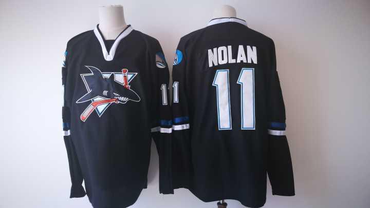 Sharks 11 Owen Nolan Black Jersey