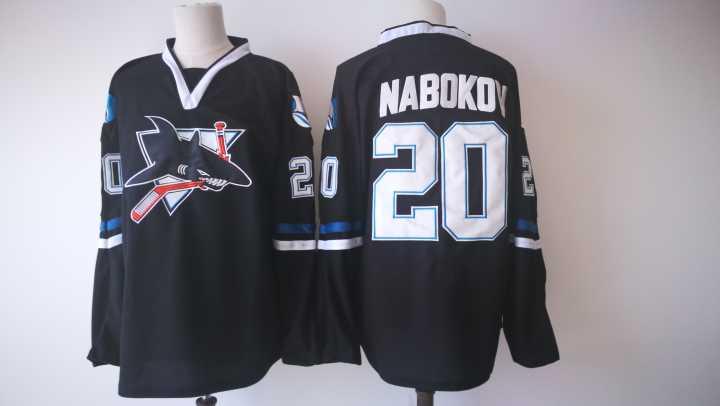 Sharks 20 Evgeni Nabokov Black Jersey